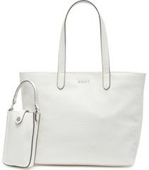 dkny ashlee snake-embossed tote with removable pouch