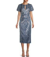 aidan mattox women's beaded keyhole midi dress - blue grey - size 0