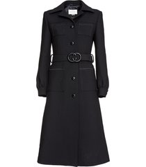 gucci belted wool coat in black