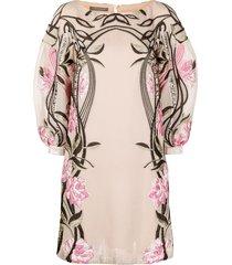 alberta ferretti embroidered tulle dress - pink