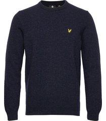 crew neck lambswool blend jumper stickad tröja m. rund krage blå lyle & scott