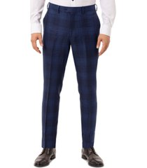 tallia men's slim-fit blue plaid linen suit separate pants