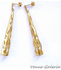 ażurowe stożki złote - kolczyki