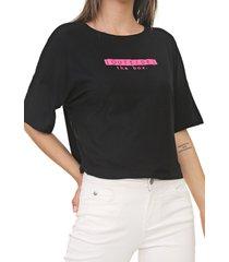 blusa lunender lettering neon preta - preto - feminino - viscose - dafiti