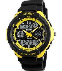 reloj sport digital analogo skmei ad0931 negro new amarillo