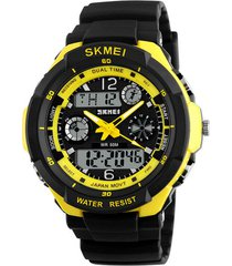 reloj sport digital analogo skmei ad0931 negro new amarillo