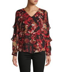calvin klein women's printed ruffled-sleeve top - rouge - size s