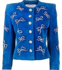 yves saint laurent pre-owned rhinestone-bow embellished jacket - blue