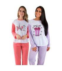 kit 2 pijama linha noite longo 124