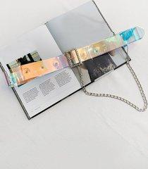 punk chain holography transparent belt