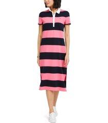 tommy hilfiger striped polo-neck dress
