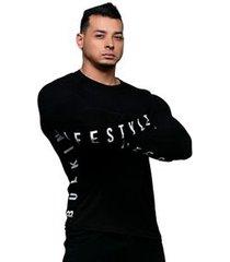 camiseta manga longa platinum black lifestyle