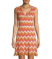m missoni women's metallic chevron knit dress - orange - size 46 (10)