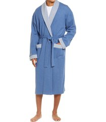 men's majestic international sutherland nova knit cotton blend robe, size small/medium - blue
