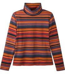 gestreept shirt met lange mouwen uit bio-katoen en col, oranje-gestreept 42