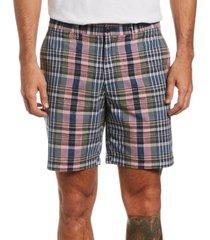 original penguin men's slim-fit plaid chambray shorts