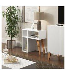 aparador para sala leaves 60cm be mobiliário 3 nichos branco