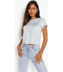 gestreept t-shirt met contrasterende zoom en zak detail, white