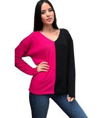 sweater fucsia destino collection bicolor