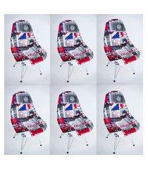 kit com 06 capas para cadeira base madeira eiffel wood londres
