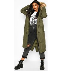 faux fur trim hooded maxi parka, khaki