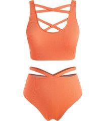 plus size ribbed crisscross cutout high rise tankini swimwear