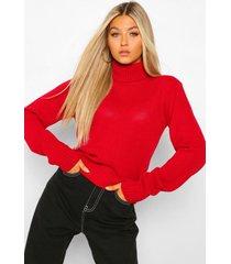lange capri-trui met col, rood