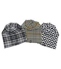 kit gorro beanie brohood xadrez 3 peças masculino