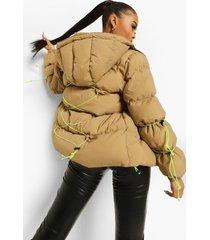 gewatteerde jas met capuchon en touwtjes, stone