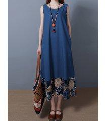 vestito smanicato con patchwork etnico