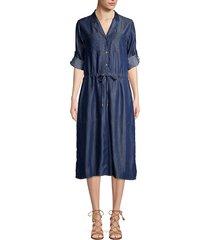 donna karan women's roll-tab sleeve button-front dress - dark indigo - size m