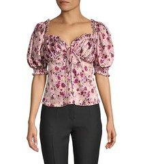 daisha floral stretch-silk top