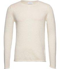 casual knit stickad tröja m. rund krage creme lindbergh