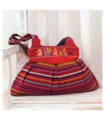 cotton shoulder bag, 'forest freedom' (guatemala)