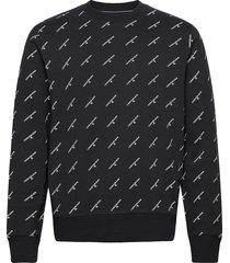 aop monogram crew neck sweat-shirt tröja svart calvin klein jeans