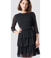 rut&circle glitter dot frill dress - black