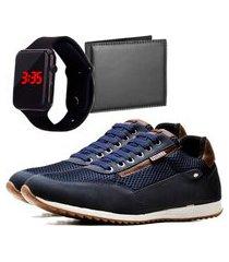 sapatênis casual com carteira e relógio led dubuy 1100la azul