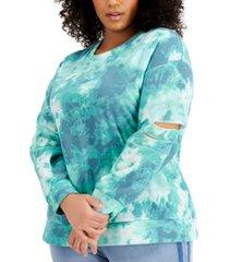 full circle trends plus size tie-dyed slit-sleeve sweatshirt