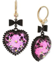 betsey johnson two-tone bow & crystal glitter heart drop earrings