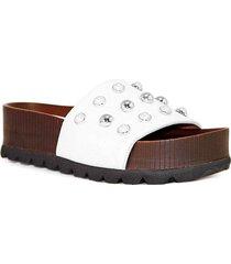 sandalia de cuero blanco albany