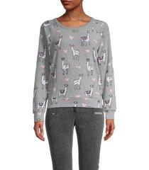 chaser women's llama & heart-print raglan-sleeve pullover - heather grey - size s