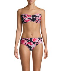 floral-print bandeau bikini top