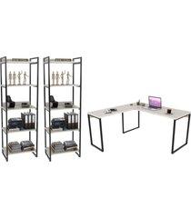 conjunto escritã³rio estilo industrial mesa 150x150cm e 2 estantes 60cm 5 prateleiras prisma snow - mpozenato - bege - dafiti