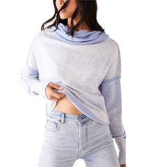 women's free people ricky slouch hoodie, size small - blue
