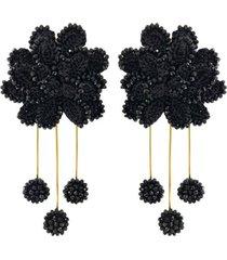 aretes tejidos crisantemo - tina botero