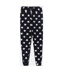 calça de pijama com estampa de corações | lov | preto | gg