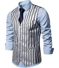 vertical striped single breasted business vest