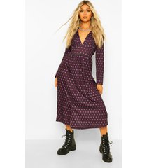 tall geweven midi jurk met lange mouwen en stippen, purple