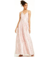 bcx juniors' embroidered damask cross-back gown
