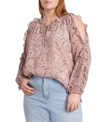 1.state 1. state ruffle cold-shoulder georgette top, size 3x in silky snake at nordstrom